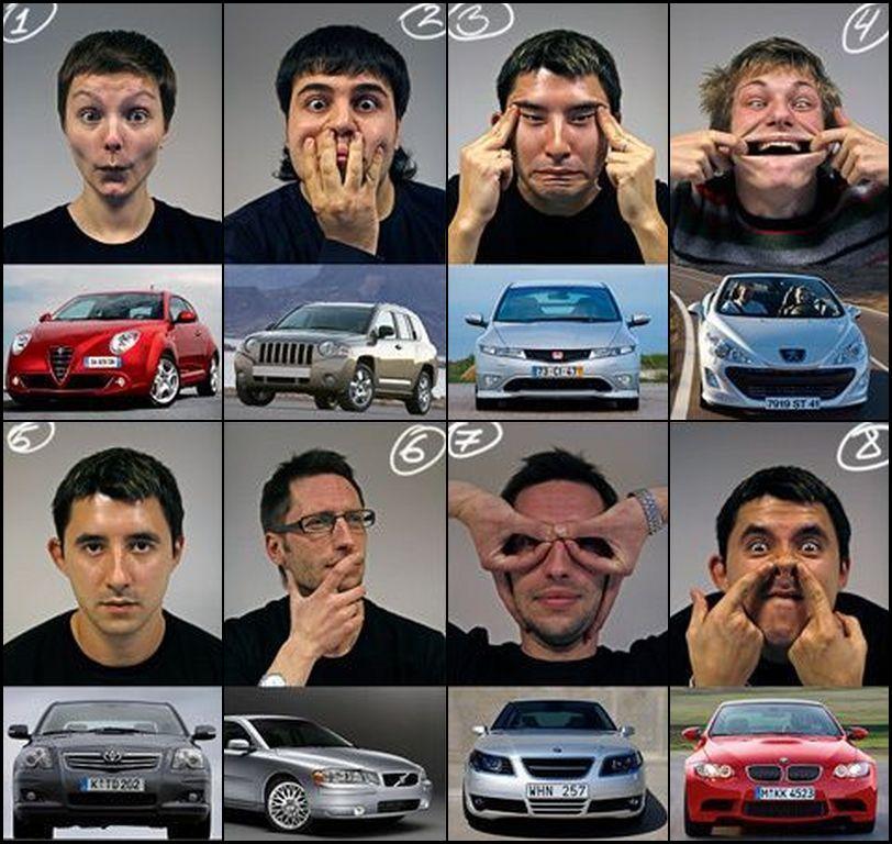 בני אדם עושים פרצופים של מכוניות