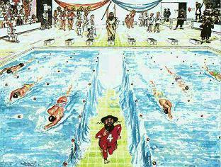 משה בתחרות שחייה